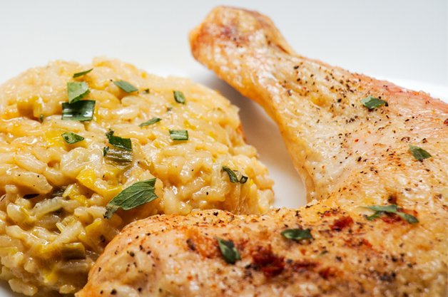Leek-and-tarragon-risotto-with-roasted-chicken
